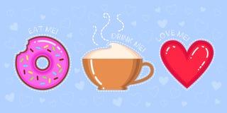 Dirigez l'illustration du beignet avec le lustre rose, tasse de cappuccino, coeur rouge Photographie stock libre de droits