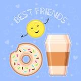 Dirigez l'illustration du beignet avec le lustre, tasse de café, emoji jaune de sourire Photos stock
