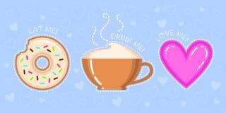 Dirigez l'illustration du beignet avec le lustre, tasse de cappuccino, coeur rose Images libres de droits