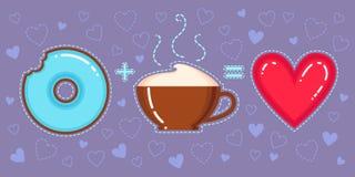 Dirigez l'illustration du beignet de chocolat avec le lustre bleu, la tasse de cappuccino et le coeur rouge Image libre de droits