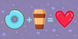Dirigez l'illustration du beignet de chocolat avec le lustre bleu, le café et le coeur rouge Image libre de droits