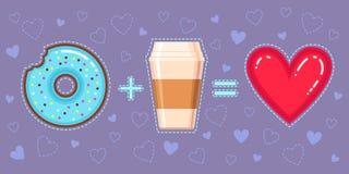 Dirigez l'illustration du beignet de chocolat avec le lustre bleu, le café et le coeur rouge Photographie stock