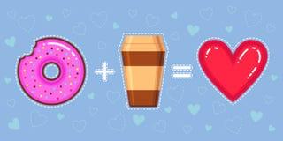 Dirigez l'illustration du beignet de chocolat avec le lustre, le café et le coeur roses Image libre de droits