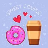 Dirigez l'illustration du beignet de chocolat avec le lustre rose, la tasse de café, les coeurs rouges et le ` doux de couples de Photo stock