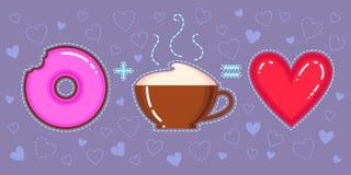 Dirigez l'illustration du beignet de chocolat avec le lustre rose, la tasse de cappuccino et le coeur rouge Images libres de droits