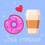Dirigez l'illustration du beignet de chocolat avec le lustre rose, tasse de café, coeur rouge Images stock