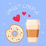 Dirigez l'illustration du beignet, de la tasse de café, des coeurs rouges et du ` doux de couples de ` des textes Photographie stock