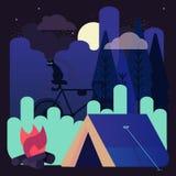 Dirigez l'illustration du camping de nuit avec une tente rougeoyante sous les étoiles Image stock