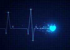 Dirigez l'illustration du cardiogramme bleu, fond médical illustration stock