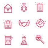 Dirigez l'illustration du concept de jour de valentines d'icône d'ensemble dans la ligne style audacieuse plate Lettre d'amour d' illustration stock