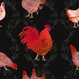 Dirigez l'illustration du coq et les poules, symbole de 2017 sur le calendrier chinois Images libres de droits