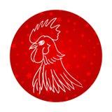Dirigez l'illustration du coq, le symbole 2017 sur le calendrier chinois Silhouettez le coq blanc, décoré de la neige et de l'éto illustration stock