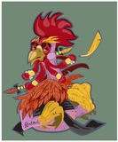 Dirigez l'illustration du coq, le symbole 2017 sur le calendrier chinois Silhouettez le coq rouge, décoré des modèles floraux Image stock