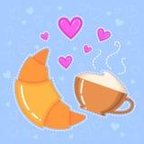 Dirigez l'illustration du croissant, de la tasse de café et des coeurs roses Photo libre de droits