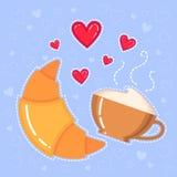 Dirigez l'illustration du croissant, de la tasse de café et des coeurs rouges Image libre de droits