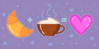Dirigez l'illustration du croissant, de la tasse de café et du coeur rose Photographie stock