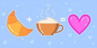 Dirigez l'illustration du croissant, de la tasse de cappuccino et du coeur rose Image libre de droits