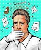 Dirigez l'illustration du docteur dans le rétro style comique d'art de bruit Images stock