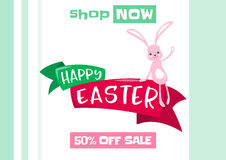 Dirigez l'illustration du fond de vente de ressort de Pâques avec le lapin mignon Photo stock