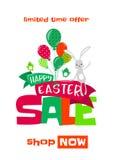 Dirigez l'illustration du fond de vente de ressort de Pâques avec le lapin mignon Photo libre de droits