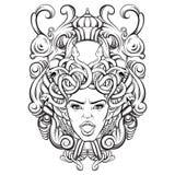 Dirigez l'illustration du gorgone avec le cadre baroque fait style dessiné disponible Photographie stock libre de droits