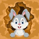 Dirigez l'illustration du lapin mignon hors du trou illustration stock