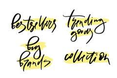 Dirigez l'illustration du lettrage ou de la calligraphie marques de best-sellers de mots de grandes tendant la collection de marc illustration de vecteur