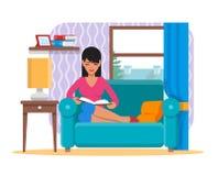 Dirigez l'illustration du livre de lecture de femme à la maison, conception plate Image libre de droits