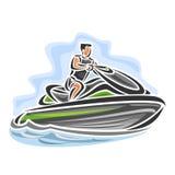 Dirigez l'illustration du logo pour le ski ultra-rapide de jet Image stock