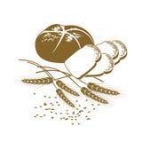 Dirigez l'illustration du pain de seigle, du pain de pain grillé et du blé illustration libre de droits