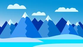 Dirigez l'illustration du paysage de montagne d'hiver - conception plate Image stock