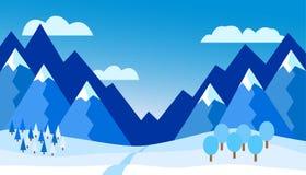 Dirigez l'illustration du paysage de montagne d'hiver - conception plate Photos libres de droits