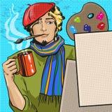 Dirigez l'illustration du peintre dans le rétro style comique d'art de bruit illustration de vecteur