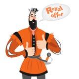 Dirigez l'illustration du prince drôle de bande dessinée avec une bulle de la parole Icône royale d'offre Photos stock