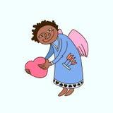 Dirigez l'illustration du saint Valentine avec les ailes et le coeur Photos stock