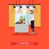 Dirigez l'illustration du serveur se tenant à la table dans le style plat Photo libre de droits