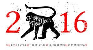 Dirigez l'illustration du singe tiré par la main - le simbol de 2016 Calendrier de janvier Image stock