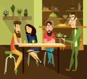 Dirigez l'illustration du thé de portion de serveur aux invités de restaurant illustration stock