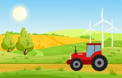 Dirigez l'illustration du village avec des champs et le tracteur travaillant à la terre cultivée, des couleurs lumineuses aménage illustration libre de droits