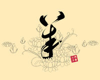 Dirigez l'illustration du yang chinois de calligraphie, traduction : moutons, chèvre Images stock