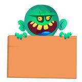 Dirigez l'illustration du zombi de bande dessinée tenant le signe en bois D'isolement sur le blanc Images stock