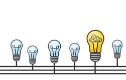 Dirigez l'illustration grunge avec les ampoules et la placez pour le texte illustration libre de droits