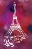 Dirigez l'illustration, label de Paris avec Tour Eiffel tiré par la main illustration de vecteur