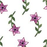 Dirigez l'illustration, modèle sans couture avec les fleurs pourpres abstraites d'aquarelle Photographie stock libre de droits