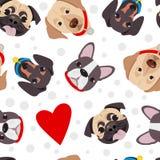 Dirigez l'illustration, modèle sans couture de la tête drôle des chiens de race Image libre de droits