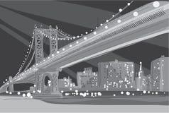 Dirigez l'illustration noire et blanche du pont de Brooklyn à New York City Photo stock