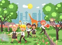 Dirigez l'illustration ou la bannière pour le site avec les écoliers, camarades de classe sur la promenade, jardin zoologique d'e illustration libre de droits
