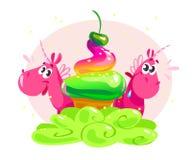 Dirigez l'illustration plate avec de petits couples mignons drôles de caractère de licorne et grand cornet de crème glacée savour Photo libre de droits