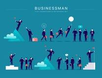 Dirigez l'illustration plate avec des caractères et des métaphores de bureau d'homme d'affaires d'isolement sur le fond bleu illustration de vecteur