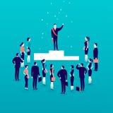Dirigez l'illustration plate avec l'homme d'affaires réussi se tenant sur le podium devant la foule de personnes de bureau d'isol Photos libres de droits